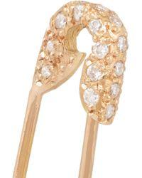 Ileana Makri   Metallic Safety Pin 18-Karat Rose Gold Diamond Earring   Lyst