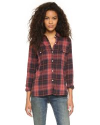 Sundry | Purple Flannel Plaid Shirt - Burgundy | Lyst