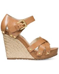 Michael Kors | Brown Michael Somerly Platform Wedge Sandals | Lyst