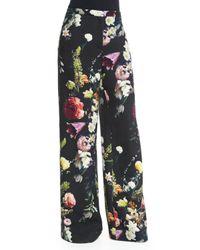 Adam Lippes - Black Floral-print Wide-leg Pants - Lyst
