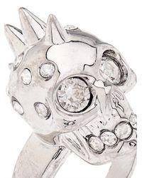 Alexander McQueen | Metallic Crystal-Embellished Skull Ring | Lyst