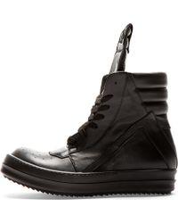Rick Owens - Black Leather Geobasket High_top Sneakers - Lyst