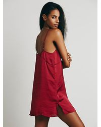 Free People - Red Basic Satin Slip - Lyst
