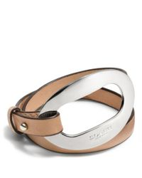 COACH - Natural Open Lock Leather Double Wrap Bracelet - Lyst
