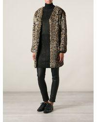 MSGM - Brown Leopard Print Fur Coat - Lyst