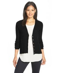 Eileen Fisher - Black Merino V-neck Cardigan - Lyst