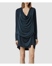 AllSaints | Blue Amei Long Sleeved Dress | Lyst