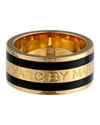 Marc By Marc Jacobs - Black Classic Marc Enamel Stripe Ring - Lyst