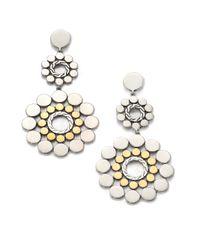 John Hardy | Metallic Dot 18K Yellow Gold & Sterling Silver Long Double-Drop Earrings | Lyst