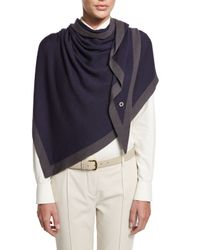 Loro Piana | Blue Flamenco Golden Knit Shawl for Men | Lyst