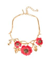 Oscar de la Renta - Metallic Painted Flower Necklace - Lyst