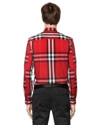 Burberry Brit - Red Nelson Tight-check Sport Shirt for Men - Lyst