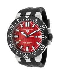 Swiss Legend | Challenger Black Silicone Red Dial Black Ip Steel Bezel for Men | Lyst