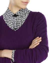 Qi | Purple V-Neck Knit Cashmere Sweater | Lyst