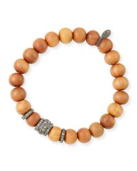 Sheryl Lowe | Brown 10mm Sandalwood & Pave Diamond Rondelle Bracelet | Lyst
