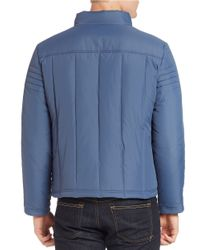 Kenneth Cole | Blue Quilted Zip-front Jacket for Men | Lyst