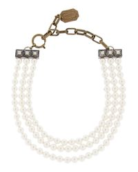 Lanvin | White 22 Faubourg Alice Goldtone Glass Pearl Necklace | Lyst