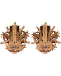 Oscar de la Renta - Metallic Gold-plated Crystal Earrings - Lyst