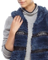 Love Token | Blue Bettie Hooded Real Rabbit Fur Vest | Lyst