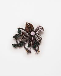 Zara | Metallic Colorful Flower Brooch | Lyst
