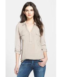 Splendid - Brown Lightweight Chest Pocket Shirt - Lyst