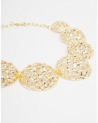ASOS | Metallic 70s Statement Woven Discs Collar Necklace | Lyst