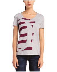 BOSS Orange - Gray T-shirt 'tishirt' With A Round Neckline - Lyst