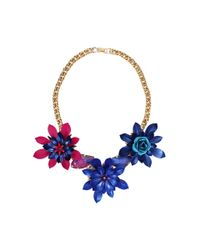 Erickson Beamon - Pink and Blue Urban Jungle Flower Necklace - Lyst