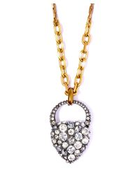 Lulu Frost | Metallic Gold-plated Blackheart Long Pendant Necklace | Lyst