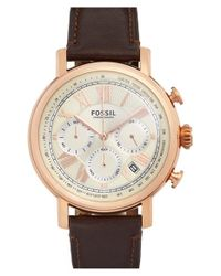 Fossil - Brown 'buchanan' Chronograph Leather Strap Watch - Lyst