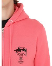 Stussy | Pink Hooded Zip-up Cotton Blend Sweatshirt for Men | Lyst