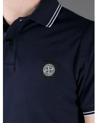 Stone Island Blue Fitted Polo Shirt for men