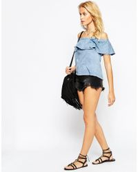 ASOS | Blue Festival Top With Off Shoulder And Gypsy Frill In Washed Cotton | Lyst