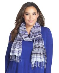 Eileen Fisher | Blue Hand Loomed Stripe Puckered Silk Scarf | Lyst