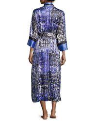 Oscar de la Renta - Multicolor Long-sleeve Printed Charmeuse Robe - Lyst
