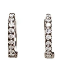 Rosa De La Cruz - Black Small Hoop Diamond Earrings - Lyst
