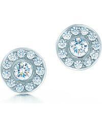 Tiffany & Co. - Blue Tiffany Circlet Earrings Of Diamonds In Platinum - Lyst