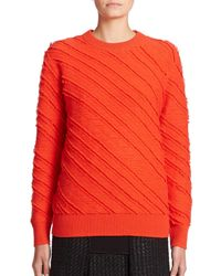 Proenza Schouler | Red Fringe Wool Jacquard Sweater | Lyst