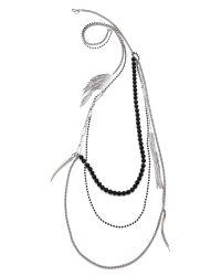 Iosselliani - Metallic Layered Necklace - Palladium/Black - Lyst
