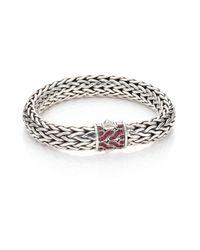 John Hardy | Metallic Classic Chain Red Sapphire & Sterling Silver Large Bracelet | Lyst