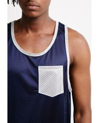 Forever 21 - Blue Mesh Contrast-pocket Tank for Men - Lyst