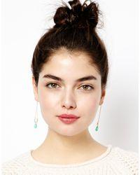 ASOS - Green Bead Trapeze Earrings - Lyst