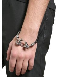John Richmond - Metallic Skulls Braided Leather Bracelet - Lyst