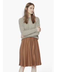 Mango - Brown Pleated Midi Skirt - Lyst