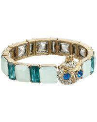 Betsey Johnson - Blue Boxed Owl Stretch Bracelet - Lyst