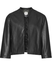 Reiss | Black Nela Collarless Leather Jacket | Lyst