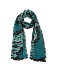 Burberry - Blue Large All Over Leaf Cashmere Scarf In Dark Teal - Lyst
