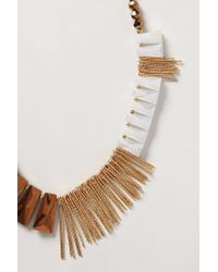 Anthropologie | Brown Fringe Flourish Necklace | Lyst