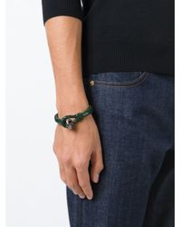 Alexander McQueen | Green Woven Skull Bracelet for Men | Lyst
