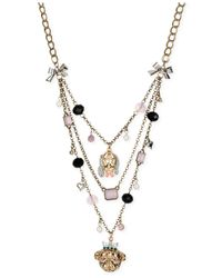 Betsey Johnson | Multicolor Gold-Tone Dog Illusion Necklace | Lyst
